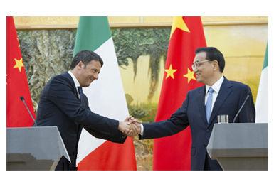 李克强与意大利总理伦齐共同会见记者