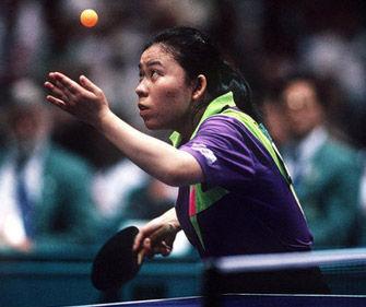 邓亚萍在乒乓球比赛中