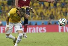 内马尔献助攻 巴西2-1哥伦比亚