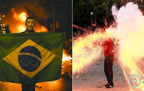 巴西记者遭示威者鞭炮击中身亡